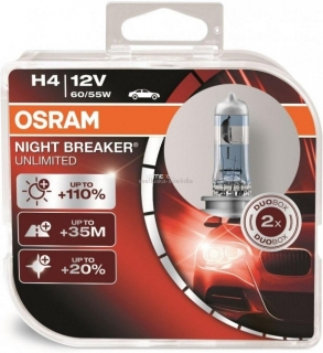 Osram Night Breaker Unlimited 64193NBU H4 +110% 60/55W 2ks/bal