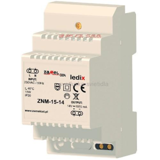 LED transformátor  14V DC 15W - ZNM-15-14 LEDIX